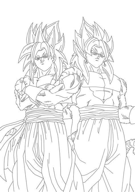 dragon ball z fusion coloring pages gogeta ssj4 y vegetto ssj4 by theothersmen on deviantart