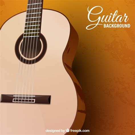 design guitar online background with acoustic guitar in realistic design vector