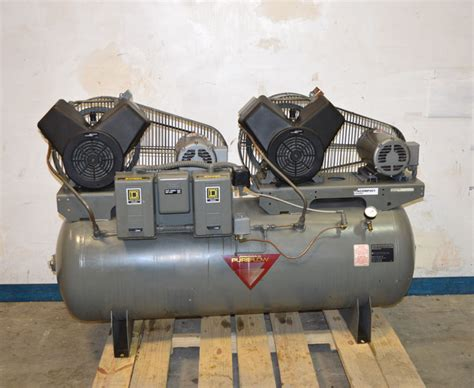 johnson controls pureflow 80 gal dual air compressor 2 hp 3 ph baldor square d ebay