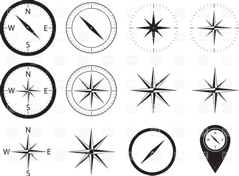 compass icons illustration royalty free vector clip art