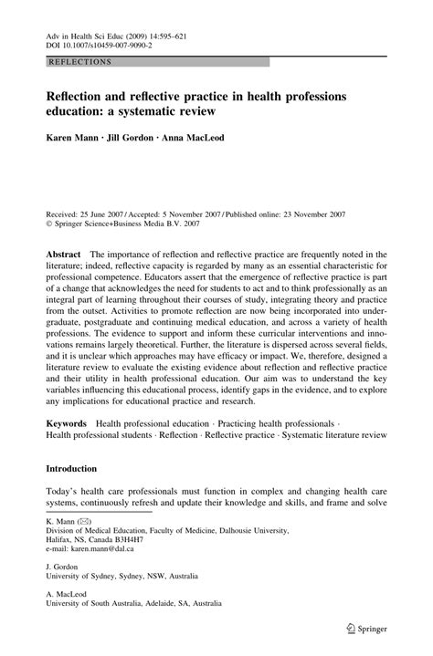 reflection  reflective practice  health professions education  systematic review