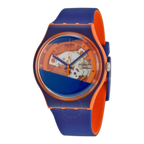 Swatch Suoo102 swatch myrtil tech solid blue and orange skeleton