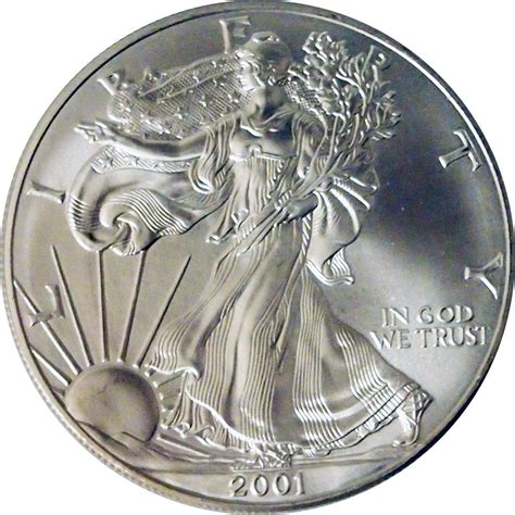 1 Oz Silver One Dollar 2001 by 2001 American Silver Eagle Dollar Bu 1oz Silver