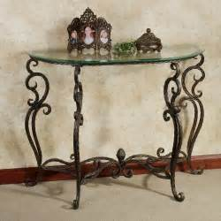 Wrought Iron Sofa Table by Antique And Vintage Half Moon Glass Console Table With