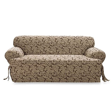 sure fit scroll brown sofa slipcover scroll brown t cushion damask sofa slipcover by sure fit