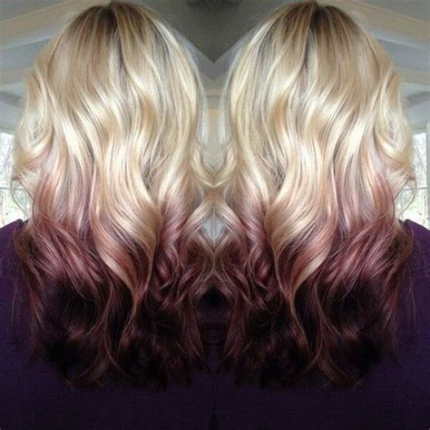 midlength blonde reverse ombre reverse ombre with maroon would love the bottom part