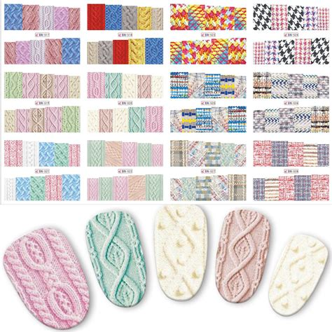 Nail Water Sticker 12 Pcs 1 12pcs sweater cloth slider for nails 3 concert water transfer nail sticker