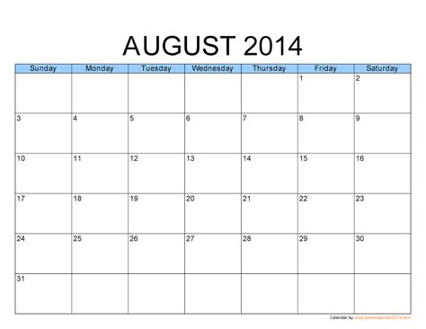 printable calendar template free printable calendar august 2013
