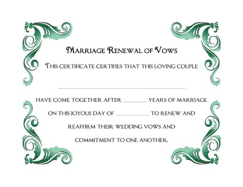 vow renewal certificate template wedding vow renewal certificate printable printable