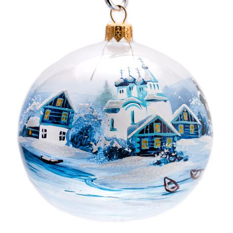 village by the lake boats ball christmas ornament