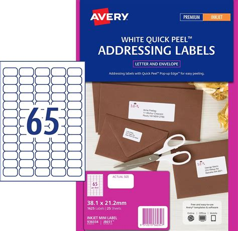 label template 65 per sheet inkjet labels 65 per sheet j8651 white permanent avery