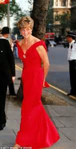 Red alert diana princess of wales in a red evening dress designed