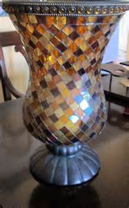 Glass Hanging Vase 70s Stain Glass Mosaic Hurricane Candle Holder Partylite