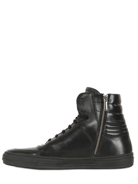 black high top leather sneakers diesel black gold smooth leather high top sneakers in