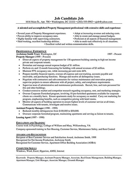 great assistant property manager resume sample property manager also