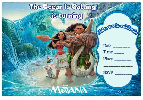 moana birthday card template free printable moana invitation free printables