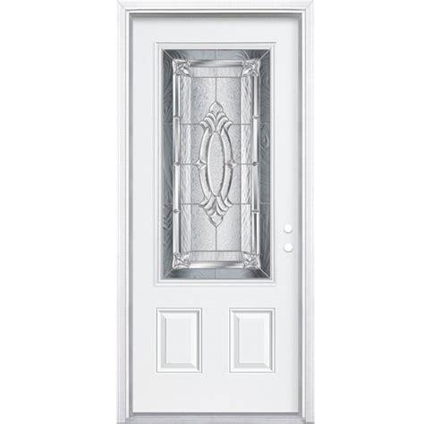 32 Inch Exterior Doors Masonite 32 Inch X 80 Inch X 4 9 16 Inch Nickel 3 4 Lite Left Entry Door With Brickmould