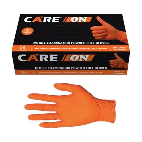 Nitrile Examination Gloves Sarung Tangan Nitrile care on nitrile gloves in hi vis orange 6 0 mil powder free by tg