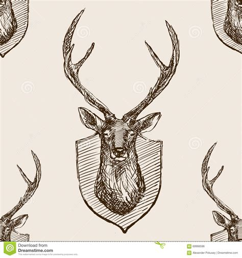 vintage pattern sketch deer head trophy sketch seamless pattern vector stock