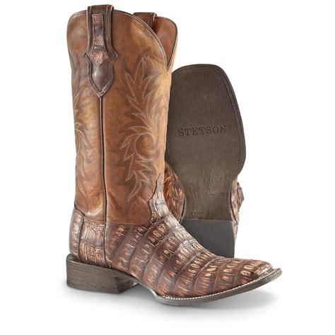 s stetson cola caiman trail western boots brown
