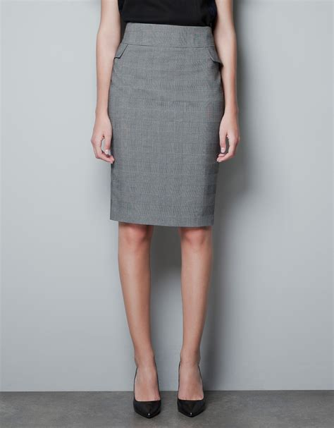 zara checked pencil skirt in gray lyst