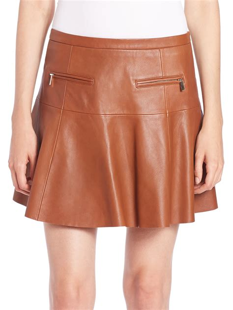 joie briza leather mini skirt in brown lyst
