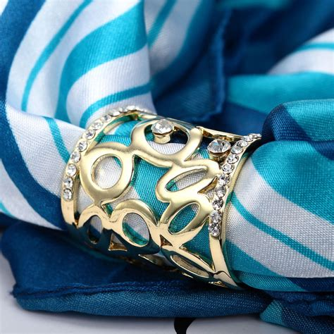 Syal Scarf Ring O Rumbai hollow scarf rhinestone scarf ring slide gold