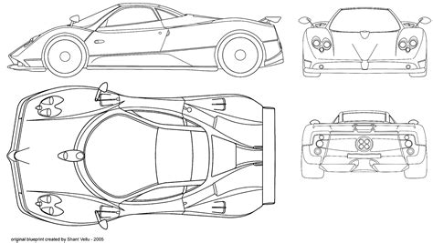 pagani drawing car blueprints pagani zonda c12 blueprints vector