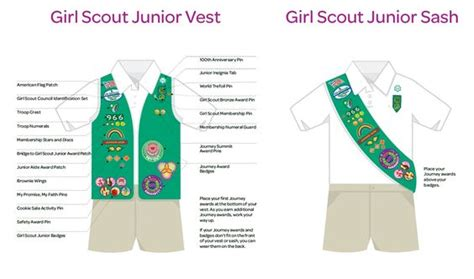 cadette sash diagram scout junior sash vest insignia placement