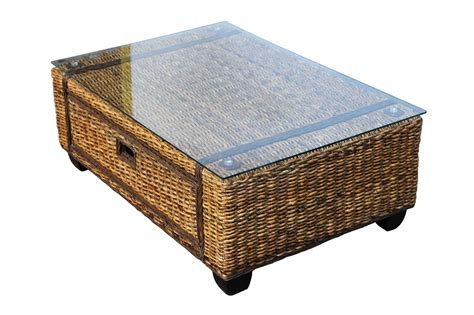 large wicker coffee table rattan coffee table with glass