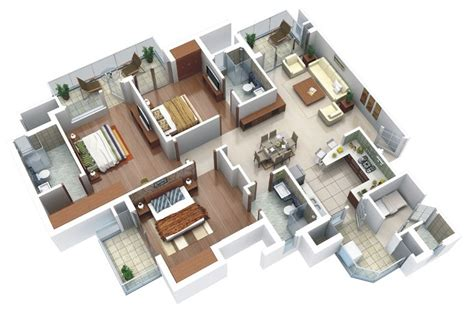 25 three bedroom house apartment floor plans apartment 3d floor plans one bed room house design and