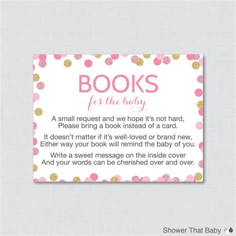 book instead of card baby shower pink and gold baby shower bring a book instead of a card