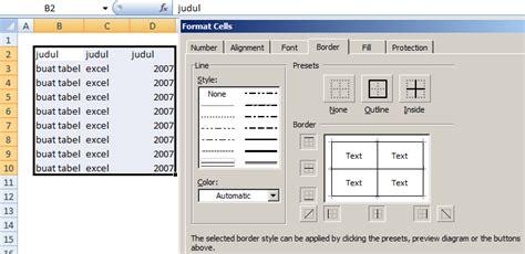 cara membuat header tabel di excel 2007 cara membuat tabel pada microsoft excel 2007 info excel blog