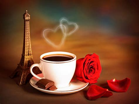 coffee wallpaper red wallpapers eiffel tower chocolate roses coffee flowers cup