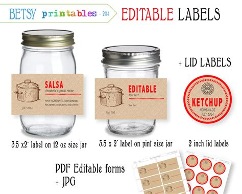 editable printable jar labels digital canning labels labels for canning by