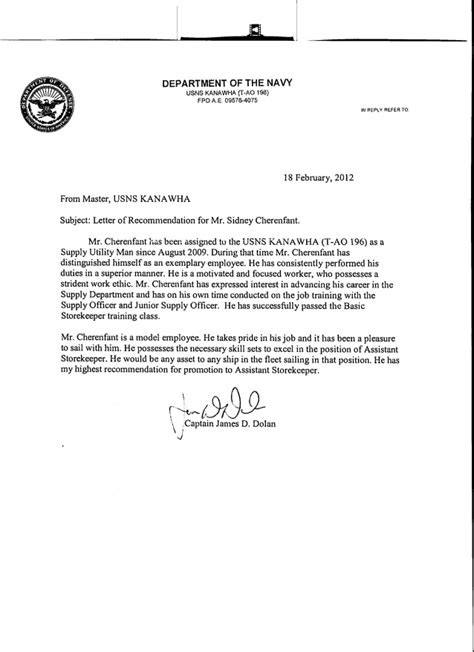 Commanding Officer Endorsement Letter Exle Letters Of Recommendation