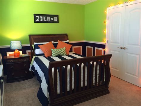 lime green navy  orange toddler boys room im loving