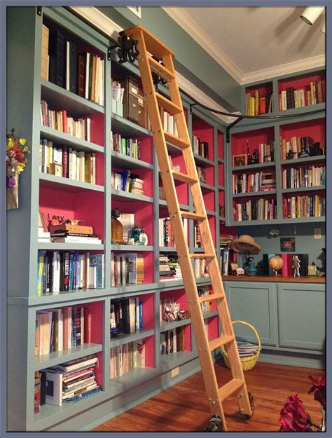 Bookcase With Rolling Ladder Library Ladder Storage Ideas Pinterest