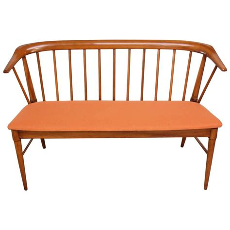modern bench with back mid century modern spindle back bench for sale at 1stdibs