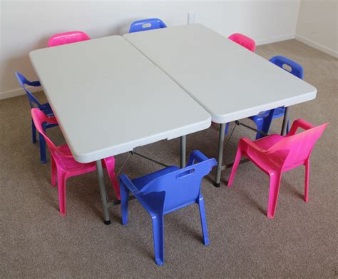 childrens trestle tables and 10 chairs bundle 2