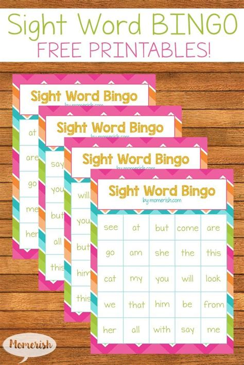 printable games to learn sight words free sight words bingo printables momerish sight word