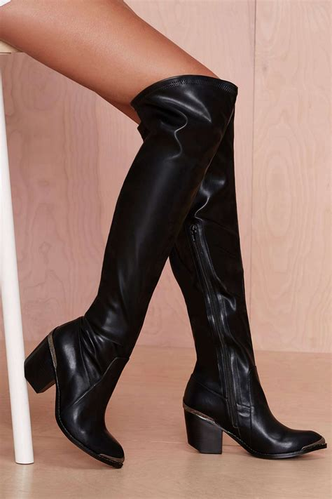jeffrey cbell thigh high boots gal jeffrey cbell halen leather knee high boot in