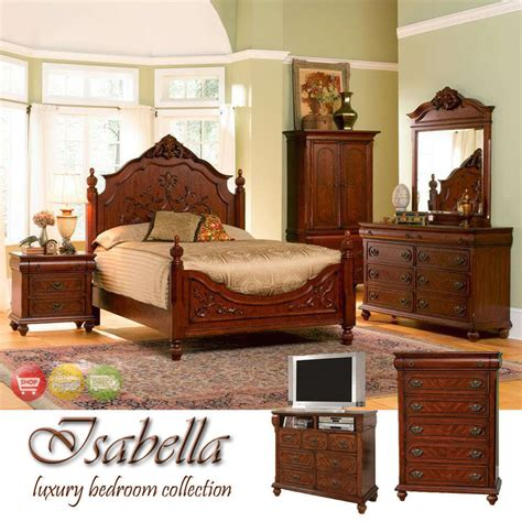 ornate queen bed wood bedroom furniture set suite new ebay