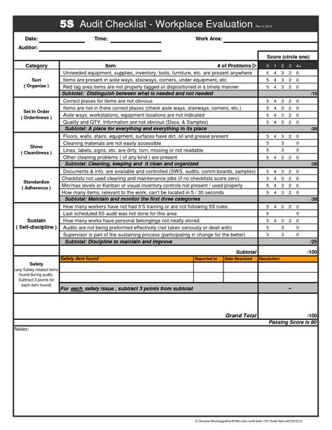 Excel Checklist Template Free by Pin 5s Audit Form Ajilbabcom Portal On
