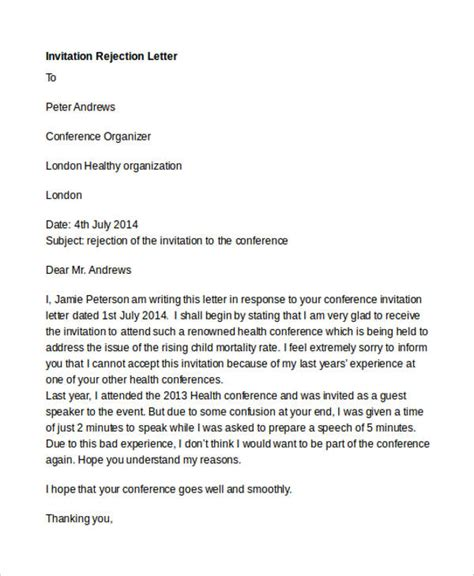 sle of formal regret letter for an invitation rejection letter of invitation 28 images sle regret