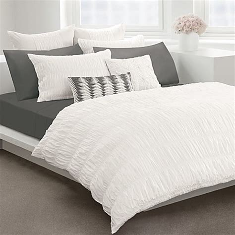 bed bath and beyond white comforter dkny willow white duvet cover by dkny 100 cotton bed