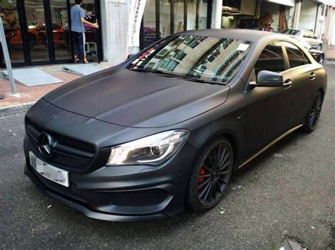 cla amg wrapped  matte black mercedes benz