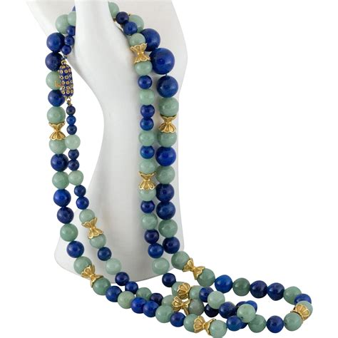jade bead necklace 36 quot 14k gold jadeite jade lapis bead necklace with
