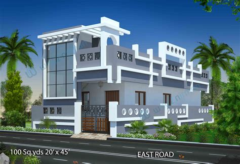 1 bhk duplex house plans 100 sqyrds 20 x 45 sqft east facing 1 bhk house plan elevation elevations images feet