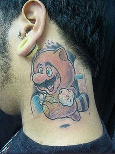 big ass tattoo big mario neck questionable tattoos